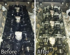 Before and after photo of a Pajero engine after Flushing Oil Concentrate was used