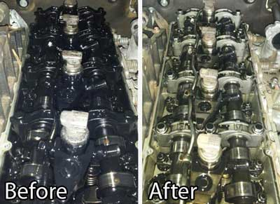 Engine sludge removed with Flushing Oil Concentrate