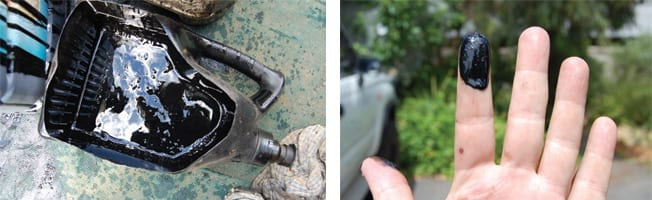 Black oil sludge removed from an engine by using Flushing Oil Concentrate