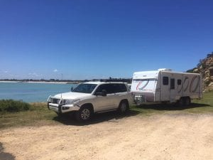 Landcruiser towing caravan
