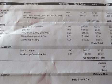 expensive DPF cleaning invoice