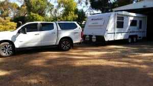2017 Holden Colorado towing a caravan that is using FTC Decarbonizer