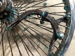 Rusted bike brake coated in remover gel